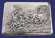 Big Russian Silver Cigarette Case Moscow1908-1917