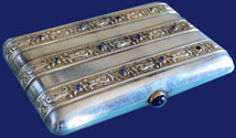 Faberge Silver Cigarette Case Moscow 1908-1917