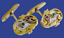 Russian Gold Enamel Emerald Ruby Cuff Links 1908-1917 St Petersburg