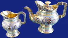 Russian Silver Champleve Enamel Tea Pot & Creamer for Tiffany 1887