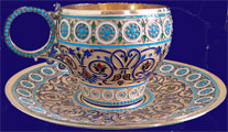 Russian Silver Enamel Cup & Saucer 1888