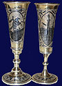 Russian Silver Niello Wedding Set 1841 Moscow