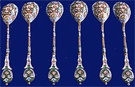 Russian Silver Shaded Enamel 6 Spoons 11th Artel Moscow 1908-1917