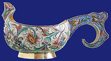 Russian Silver Shaded Enamel Kovsh Khlebnikov 1908-1917
