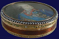 Russian Swiss Gold Enamel Pearl Box with Portrait of Potemkin 1789