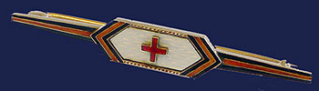 Russian WW I Red Cross Gold Enamel Pin St George Band 1914-1917