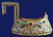 Silver Shaded Enamel Kovsh by Samoshin Moscow 1908-1917
