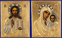 Russian Siver Enamel Wedding Pair Icons Moscow 1908-1917