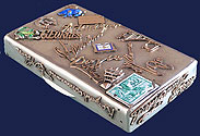 Russian Gold Silver Enamel Cigarette Case St Petersburg 1896-1908