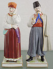 Antique Russian Porcelain Popov Factory Ukrainian Man Wife 19th